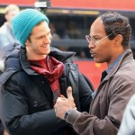 Andrew Garfield and Jamie Foxx in The Amazing Spider Man 2 150x150 Emma Stone and Andrew Garfield on The Amazing Spider Man 2 Set Video and Stills