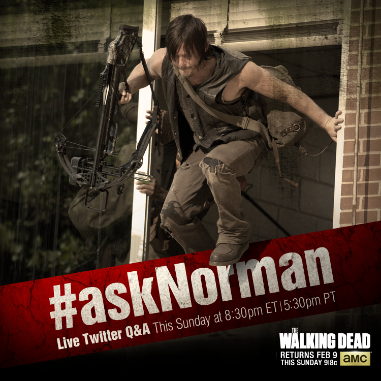 Ask Norman Reedus Twitter The Walking Dead Ask Norman Reedus About The Walking Dead in Live Twitter Q&A