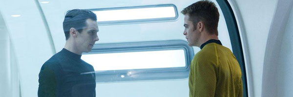 Chris Pine and Benedict Cumberbatch in Star Trek Into Darkness