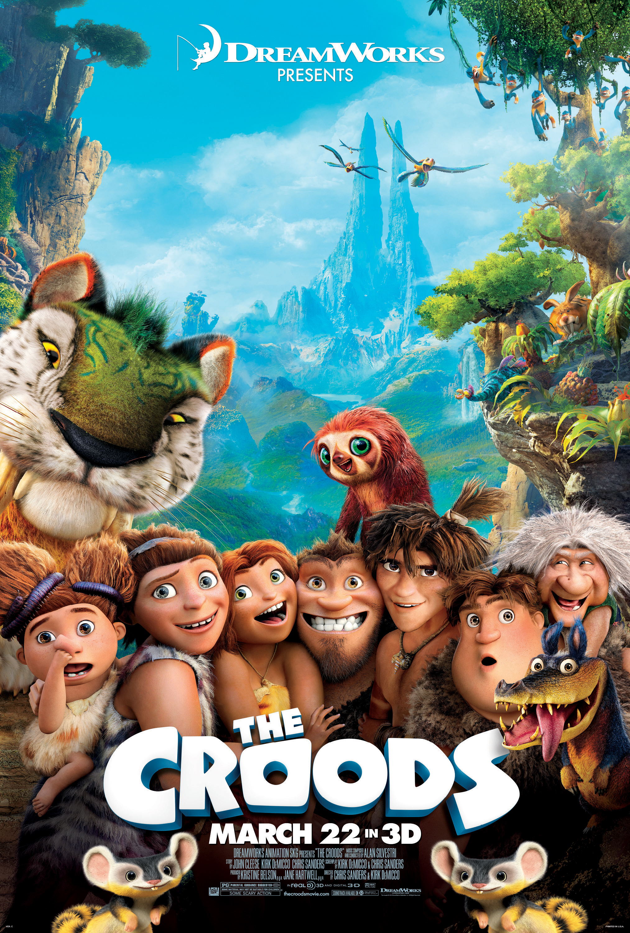 Croods RatedPosterFinal The Croods Posters Evoke Family Friendly Fun