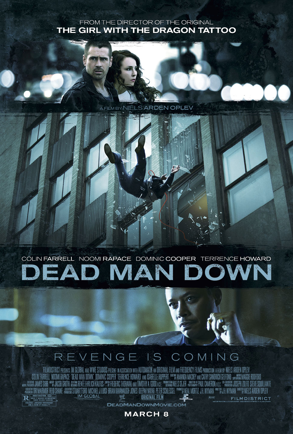 Dead Man Down Poster1 Colin Farrell Seeks Revenge in New Dead Man Down Trailer and Poster