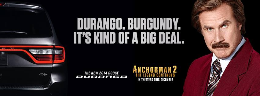 Dodge Durango Burgundy Dodge Partners with Paramount to Create Durango Ads Starring Ron Burgundy