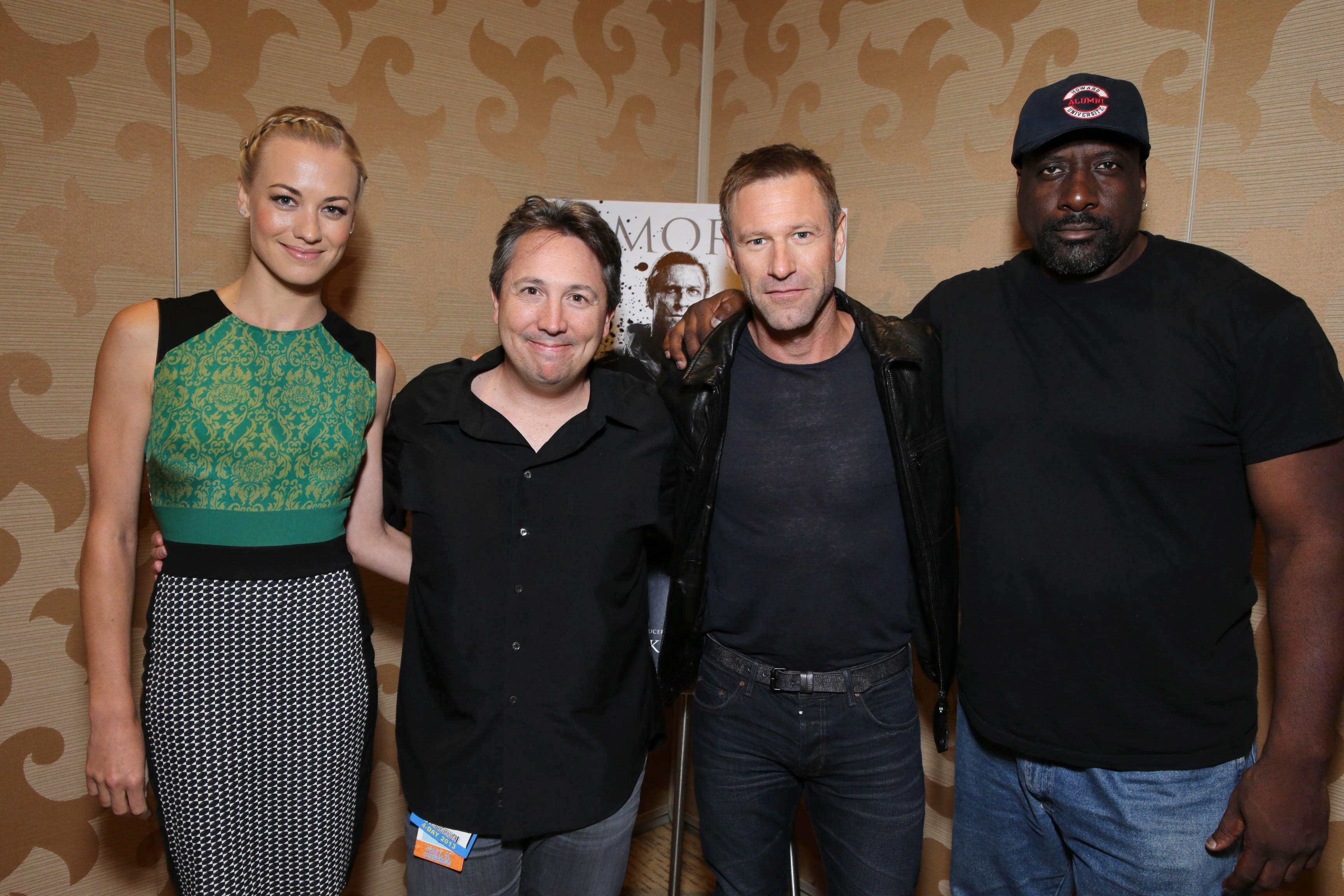 Yvonne Strahovski, Stuart Beattie, Aaron Eckhart and Kevin Grevioux at Lionsgate I, Frankenstein San Diego Comic-Con Presentation