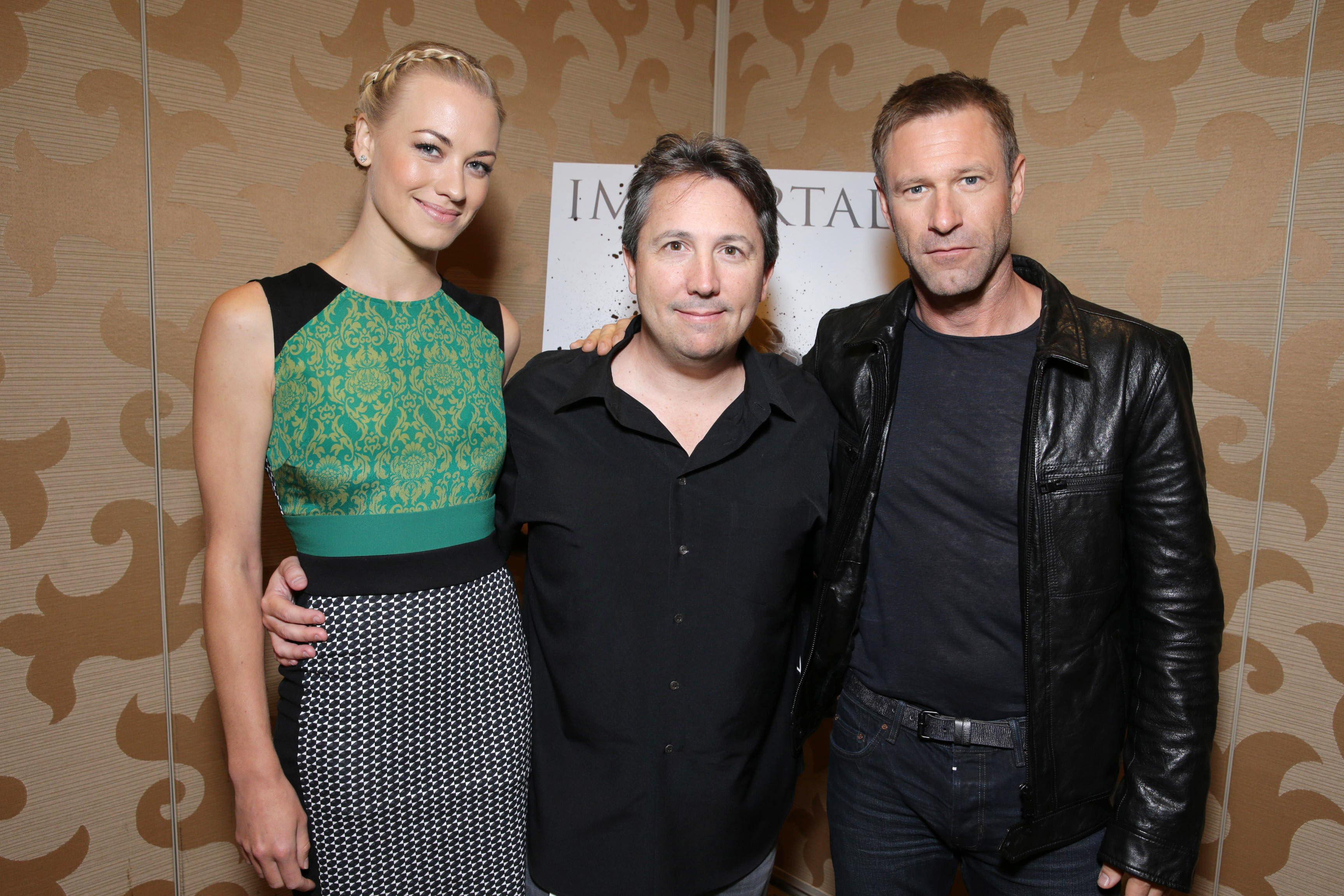 Yvonne Strahovski, Stuart Beattie and Aaron Eckhart at Lionsgate I, Frankenstein Presentation at San Diego Comic-Con 20136