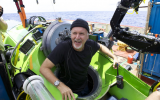 James Cameron emerges from the DEEPSEA CHALLENGER submersible