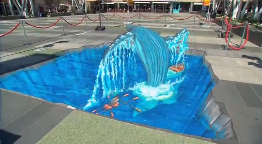 amazing life of pi chalk art has whale jumping out of sidewalk life of pi chalk art