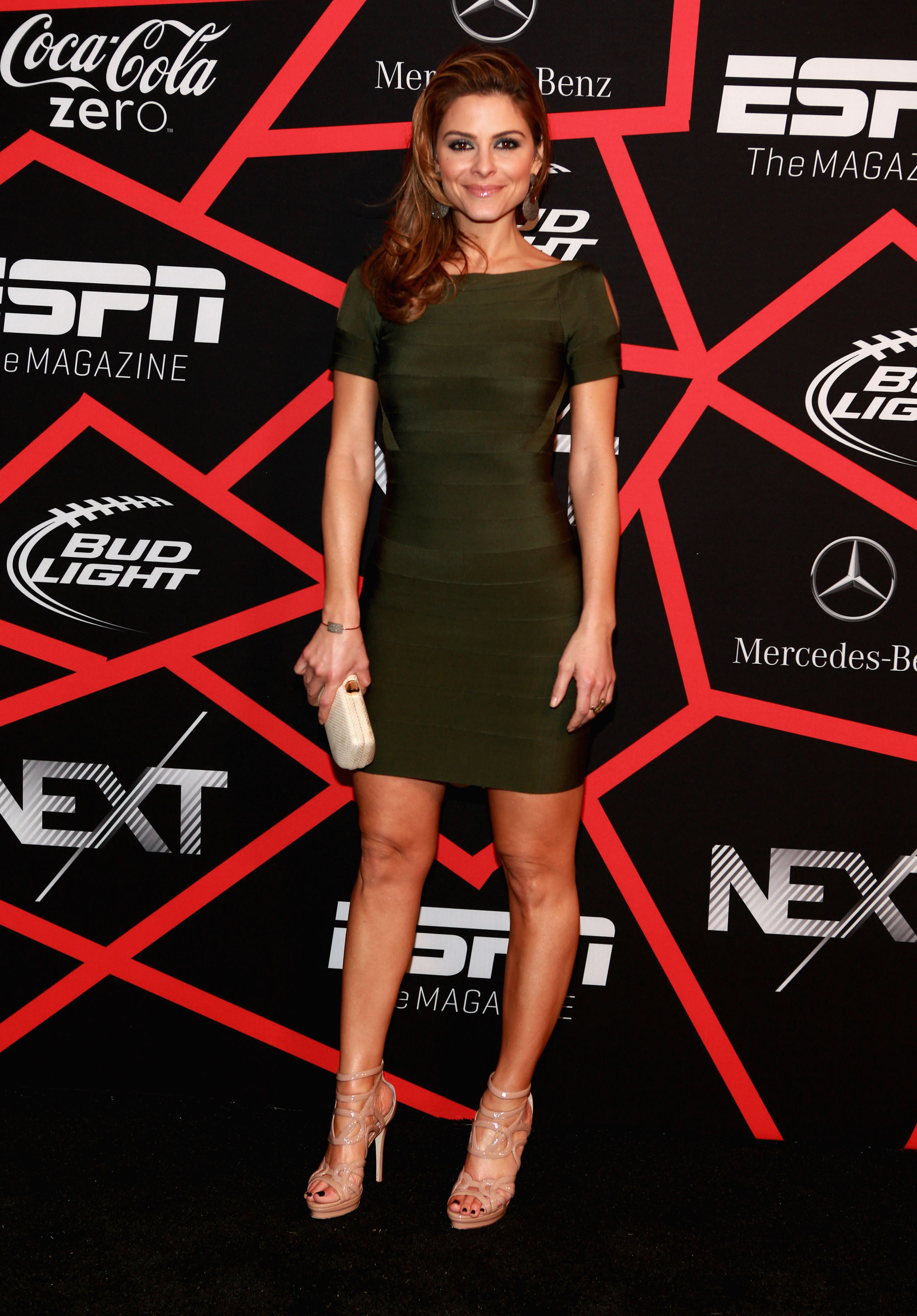 Maria Menounos Wears BCBGMAXAZRIA at Super Bowl XLVII Stars Look Chic in BCBGMAXAZRIA Group Designs at Super Bowl XLVII
