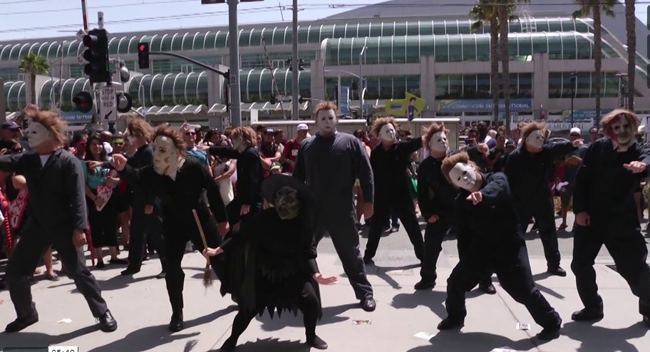 Michael Myers Slide Comic Con Halloween Complete Collection Blu Ray Set Celebrated with Comic Con Flash Mob