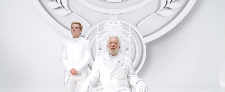 Panem Hunger Games President Snow Peeta New Hunger Games: Mockingjay Video Features President Snow Preaching Panem Unity...with Peeta Mellark?