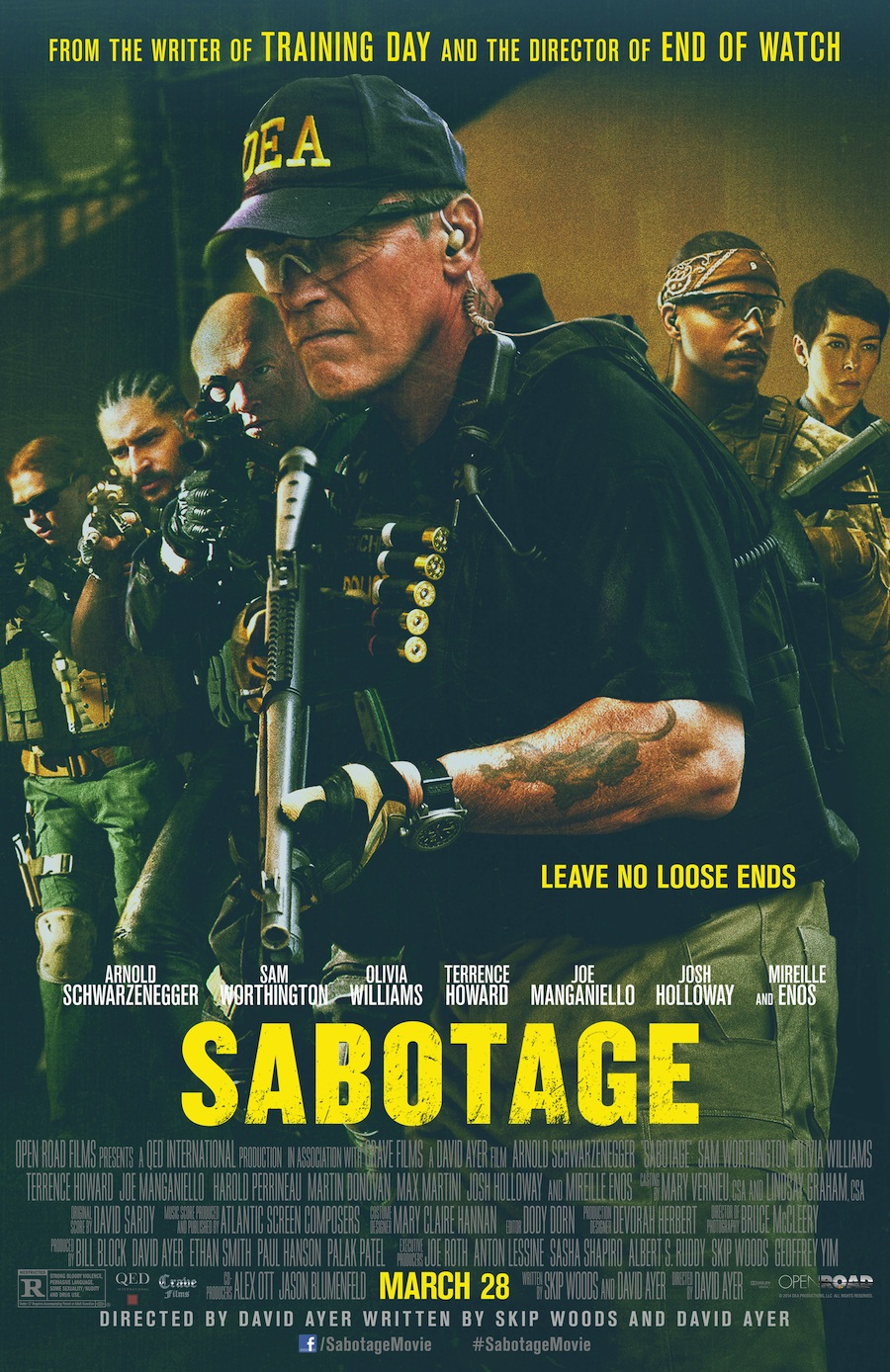 Sabotage Poster March28 Red Band Trailer for Sabotage Shows Arnold Schwarzenegger Kicking Butt