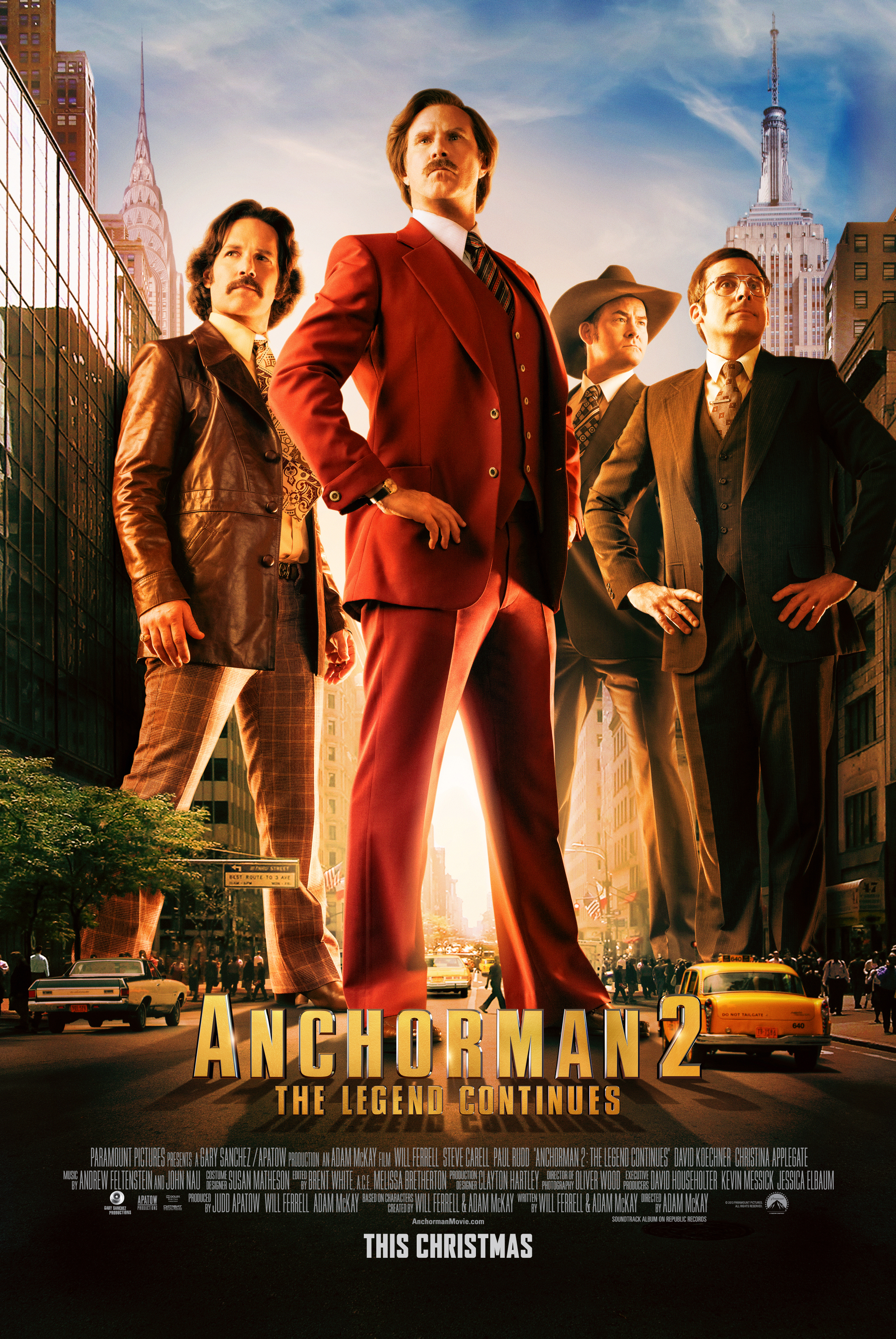 anchorman2poster New Anchorman 2 Character Posters Show Ron and Crew Stomping Through Town