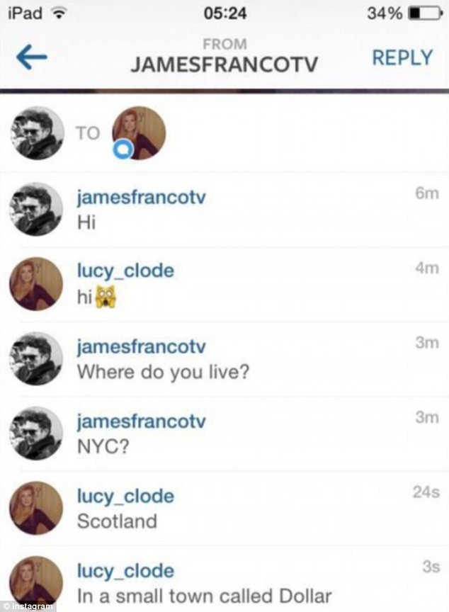 convo1 James Franco reportedly chats with British fan on Instagram   but is it genuine?