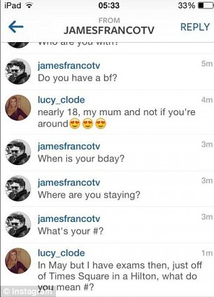 convo3 James Franco reportedly chats with British fan on Instagram   but is it genuine?